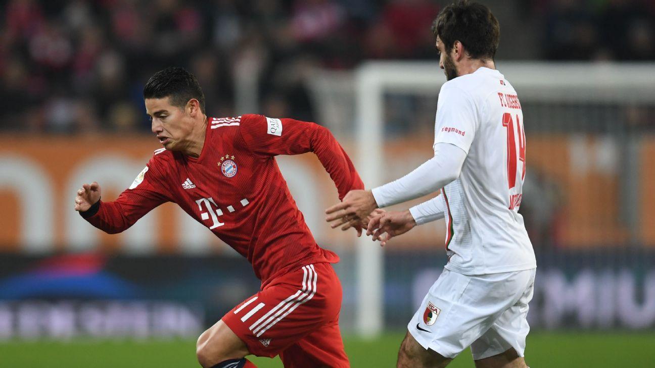 Con James, Bayern Munich venció a Ausburgo