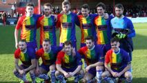 Non-league Altrincham's kit flies LGBT rainbow flag