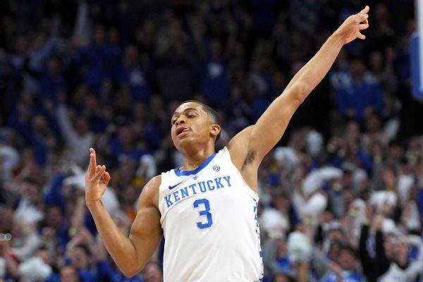 No. 5 Kentucky upsets No. 1 Tennessee, ending the Volunteers' 19-game winning streak