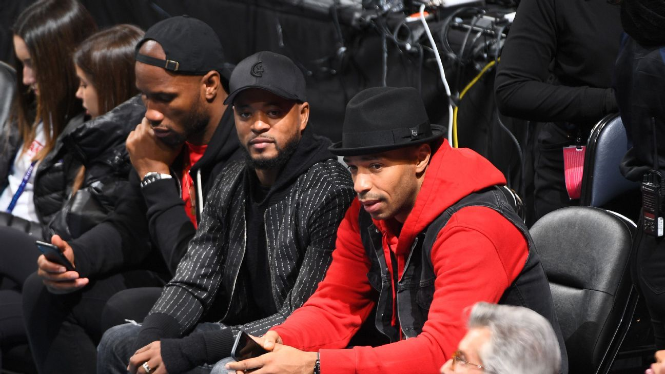 Patrice Evra, Thierry Henry and Didier Drogba enjoy NBA All-Star Weekend