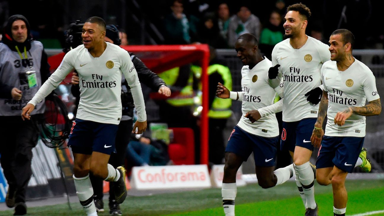 Kylian Mbappe helps PSG beat Saint-Etienne to extend Ligue 1 lead