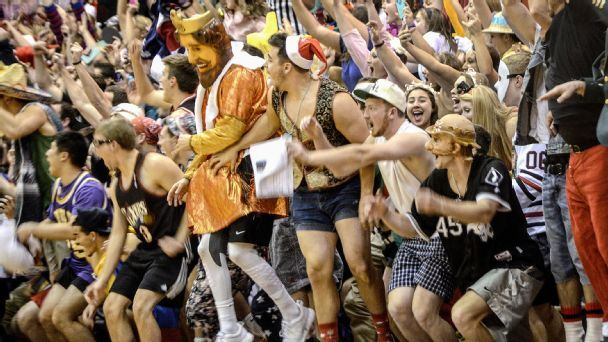 Inside student sections: Taylor University and Silent Night