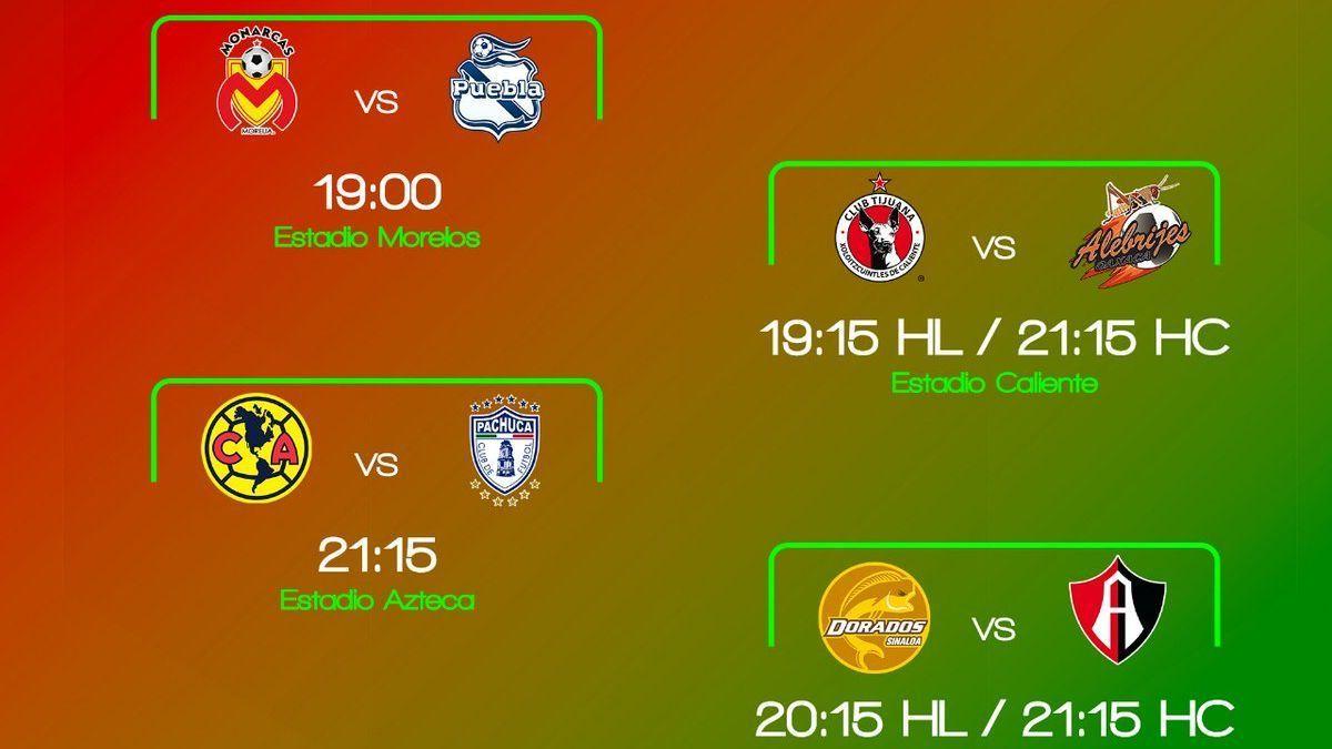 Horarios octavos de final en la Copa MX