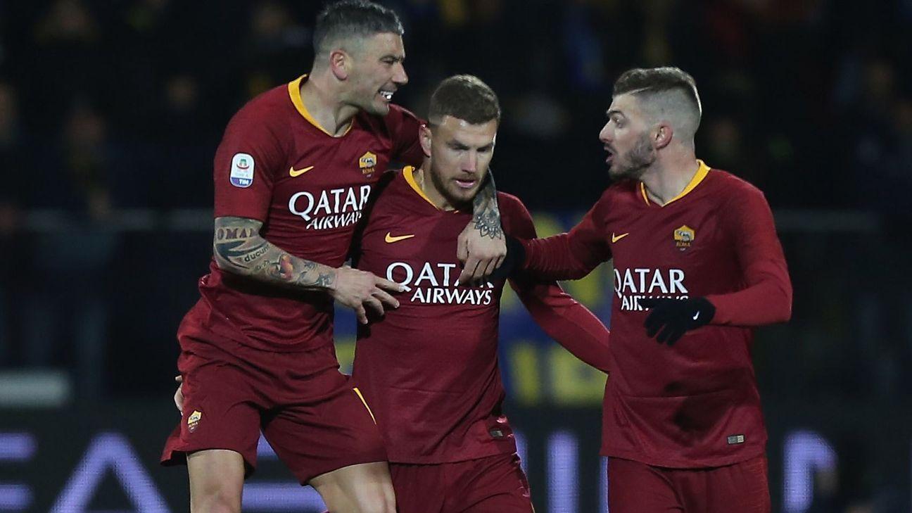 Roma bate Frosinone com gol de Dzeko no fim e vai embalada para clássico com a Lazio