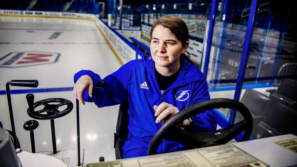 Tampa Bay's Alison Murdock, the only woman to drive a Zamboni full time in the NHL, is a smooth operator