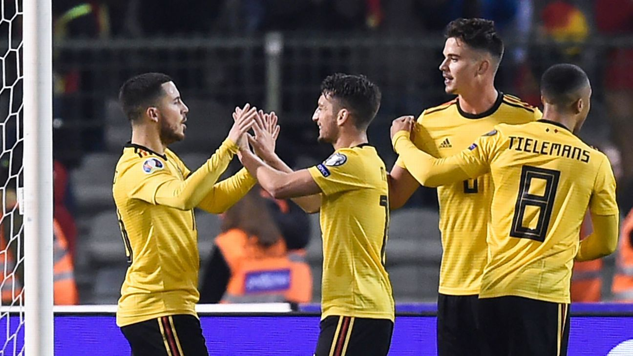 Hazard scores twice, Courtois has howler as Belgium beats Russia