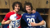 Chelsea's David Luiz meets his doppelganger from Slavia Prague