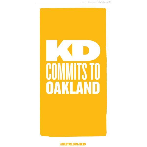 A's buy 'KD commits to Oakland' advertisement