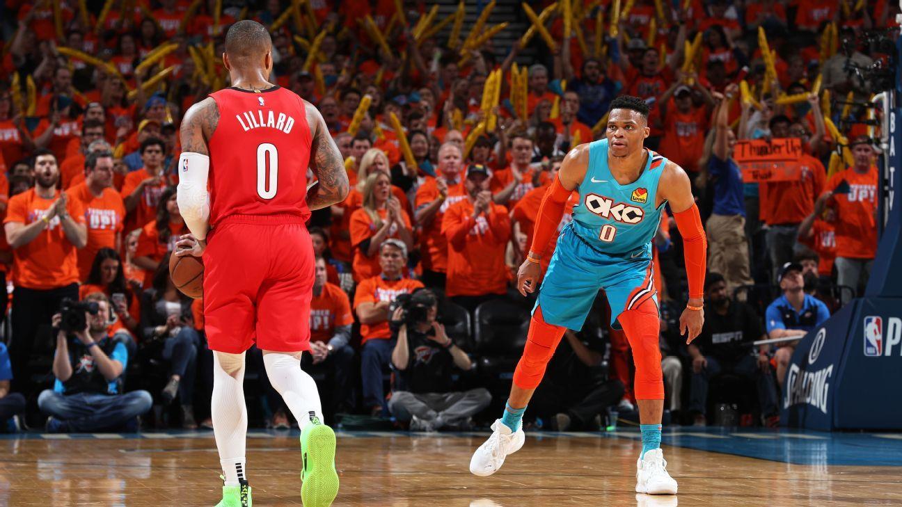 Westbrook provoca Lillard, domina, Thunder vence e diminui vantagem dos Blazers nos playoffs da NBA