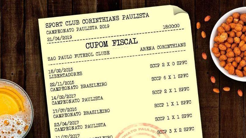 Corinthians provoca e emite cupom fiscal para o São Paulo