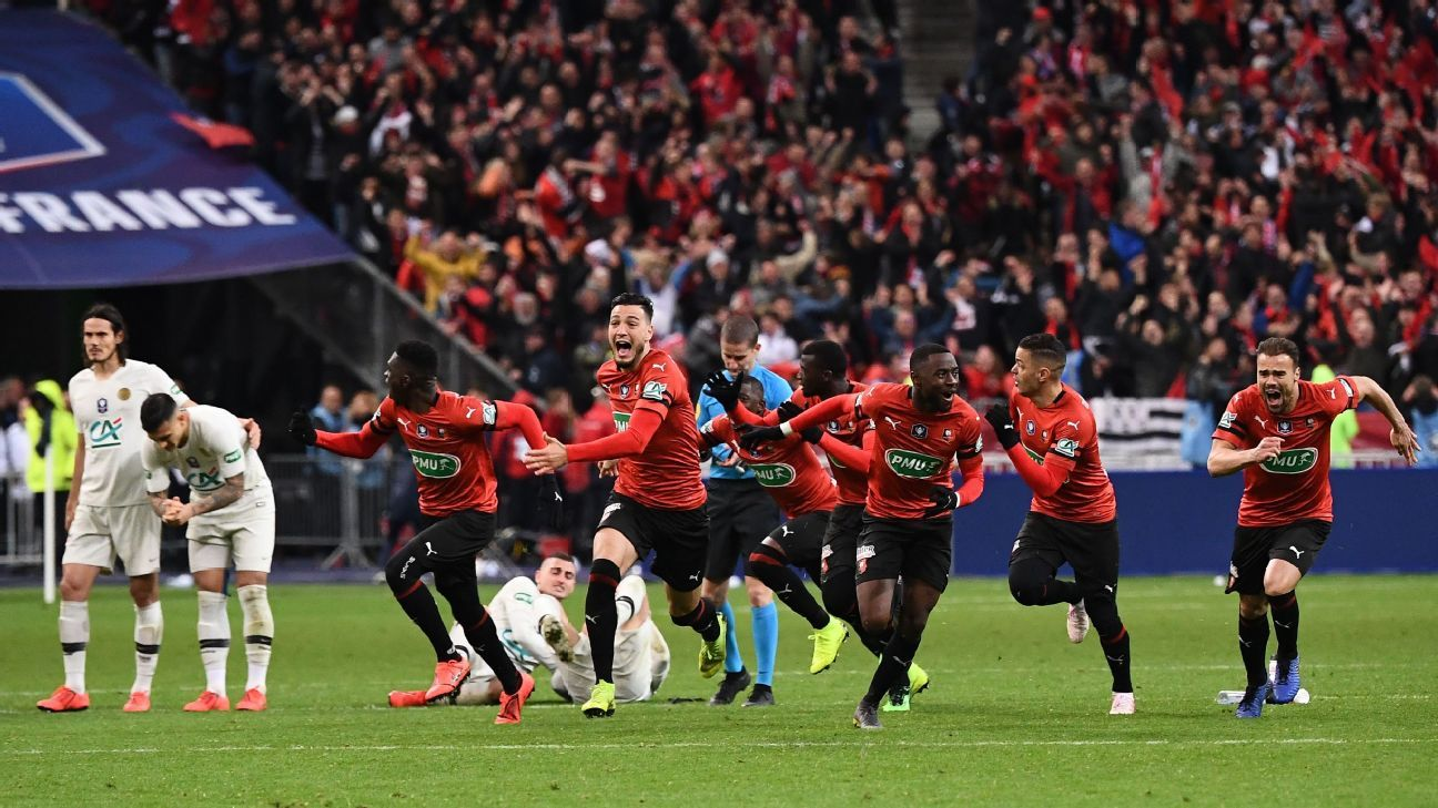 Rennes beat Paris Saint-Germain on penalties to win Coupe de France