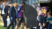 Makeshift Barcelona side beaten at Celta and lose Dembele to injury