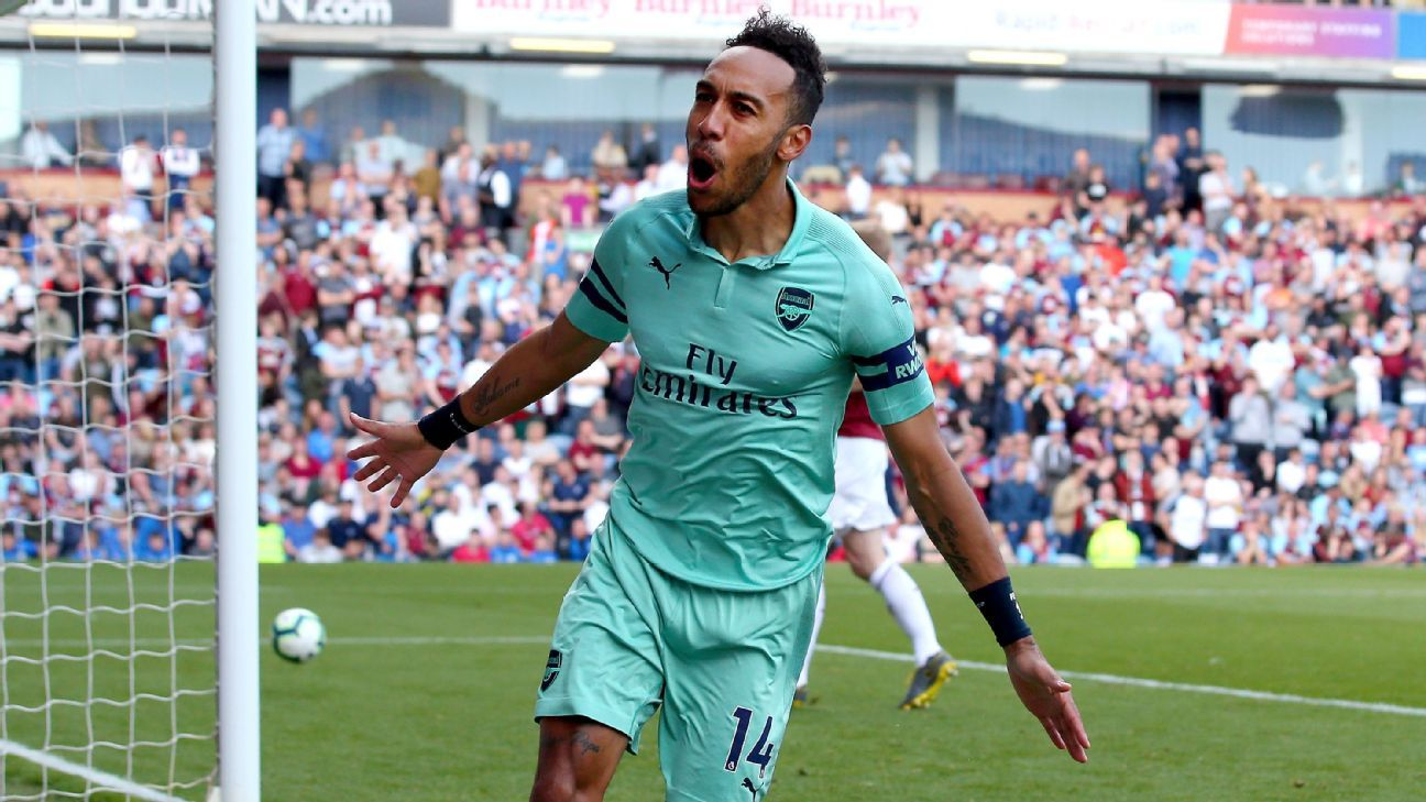 Aubameyang double fires Arsenal to last-day win at Burnley