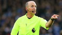Premier League referee Mike Dean wildly celebrates Tranmere Rovers reaching Wembley