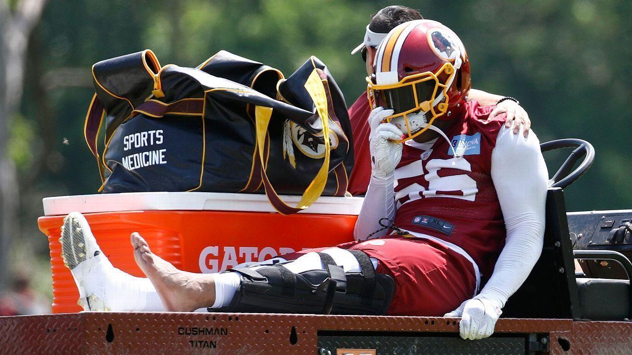 Reuben Foster abandonó por lesión la práctica de Redskins