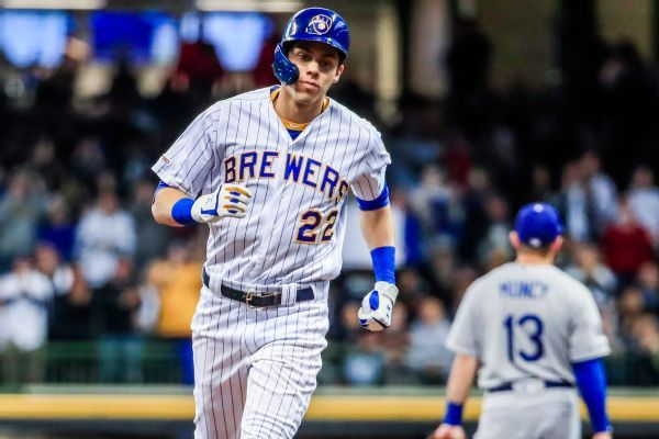 Yelich (back) again out of lineup for Brewers