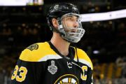 Bruins' Chara limits words after puck to mouth
