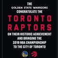 Warriors take out ad to congratulate Raptors