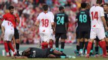 Zagueiro do Sevilla se descontrola, mas lamenta chute em promessa do Liverpool: 'Odioso da minha parte'