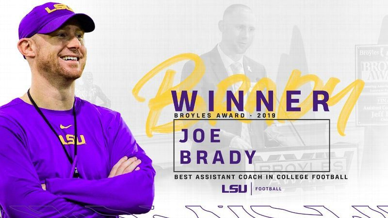 Tigers' Brady wins Broyles Award for top assistant