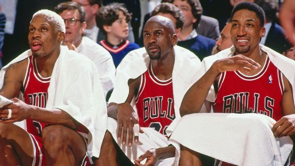 Michael Jordan and Scottie Pippen and Dennis Rodman