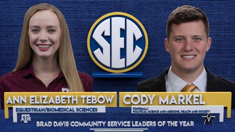 Tebow, Markel named SEC Brad Davis Award winners