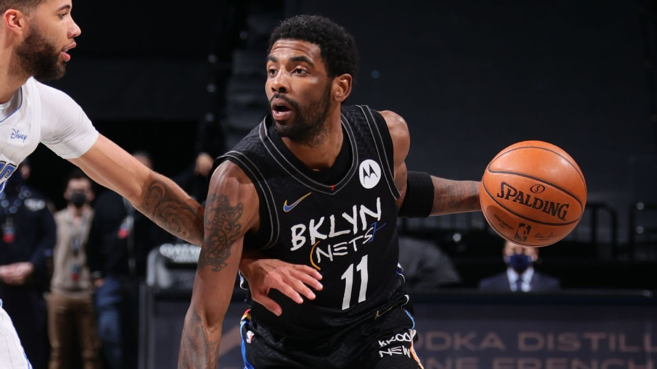 Brooklyn Nets' Kyrie Irving is happy to fuel the discussion for Kobe Bryant as the logo of the NBA