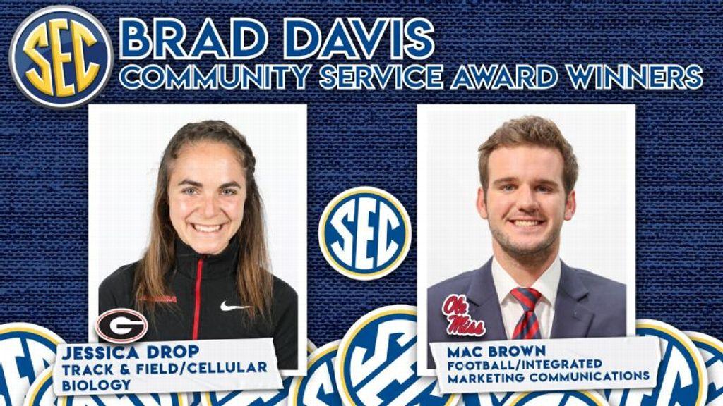 Drop,  Brown Receive Brad Davis Community Service Award