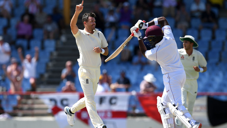 James Anderson claims three wickets with West Indies needing 450 runs more