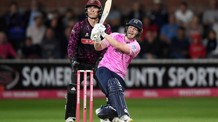 Eoin Morgan tees off in record chase as Middlesex progress at Somerset's expense