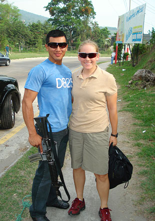 Amanda Chavez with armed guard