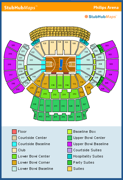 philips arena seating chart, pictures, directions, and