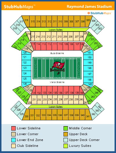 Raymond james stadium seating chart with rows elcho table