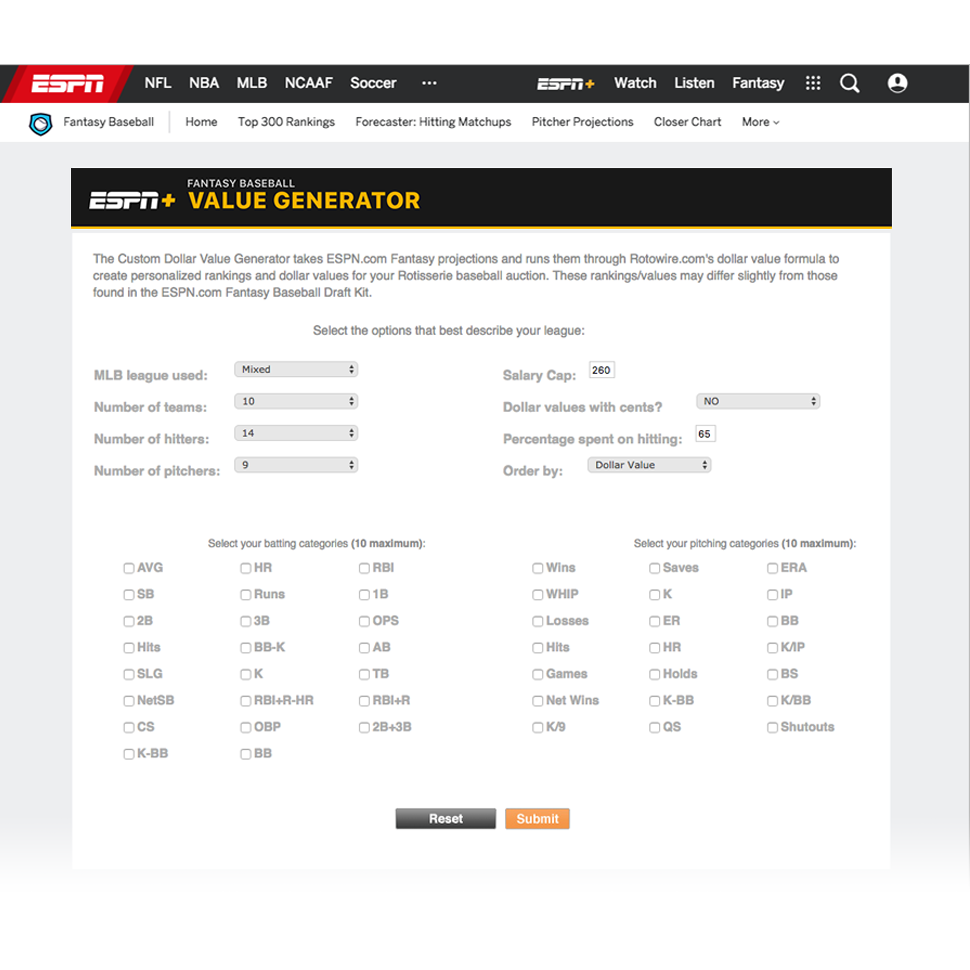 Fantasy Baseball Value Calculator Tool - Fantasy Baseball - ESPN