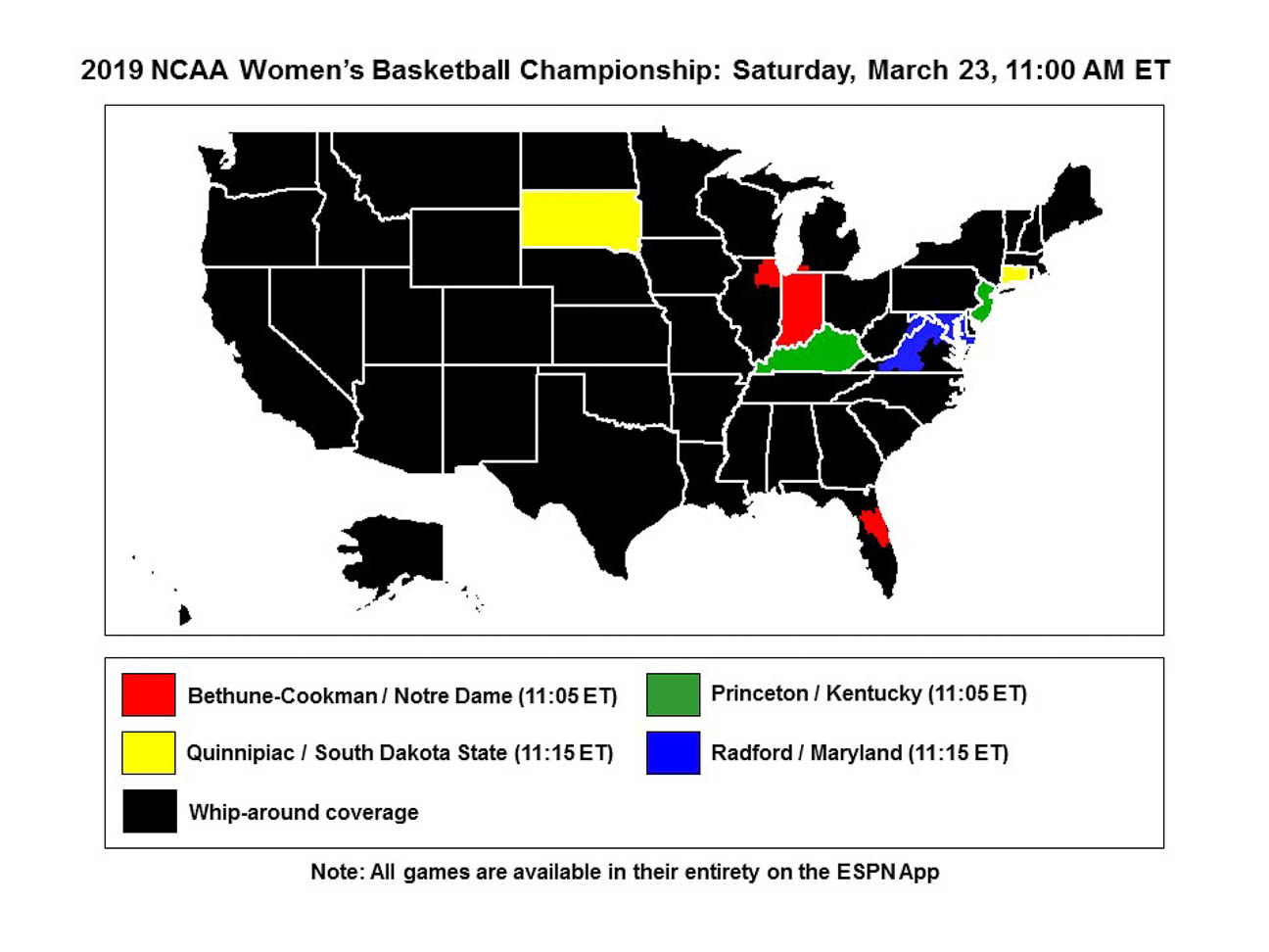 2019 women's NCAA tournament TV times, maps and channels - Best