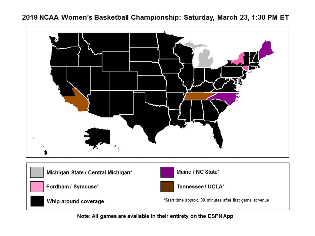 2019 women's NCAA tournament TV times, maps and channels
