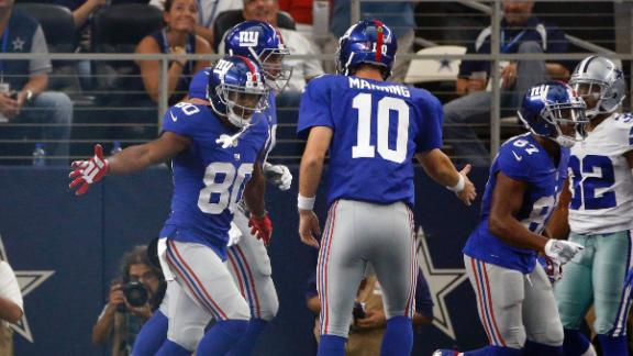 e375ae298 Victor Cruz plays key role in Giants  win at Dallas after 2-year absence · Giants  WRs to honor 9 11 anniversary with patriotic cleats