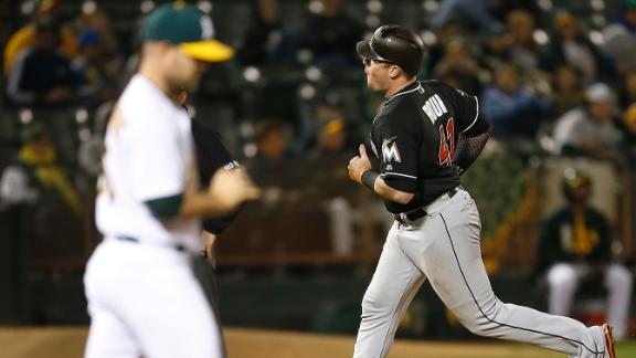 b20ee232 Bour's four hits helps Marlins hold off Athletics 11-9 | abc7news.com