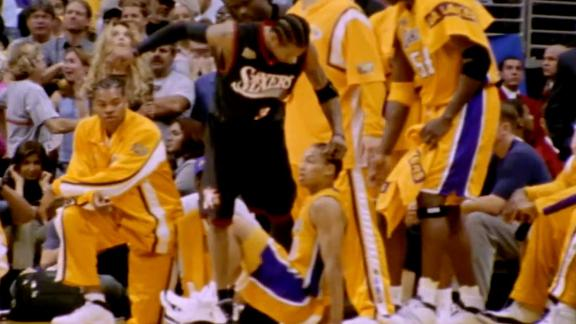 Iverson steps over Lue in NBA Finals