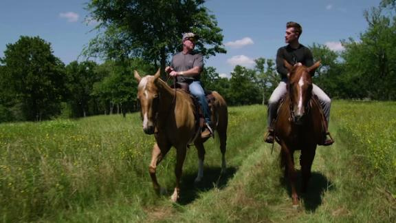 Marty rides the ranch with Jimbo Fisher