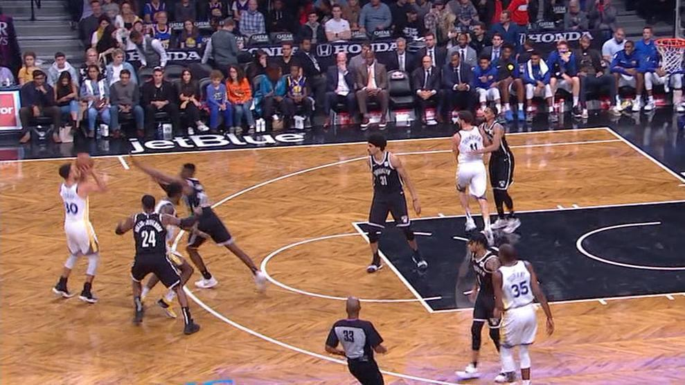 f449c56c1cf Curry sets another record for 3s, Warriors hold off Nets   abc7news.com