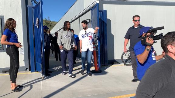 Dodgers visit Rams to wish them good luck
