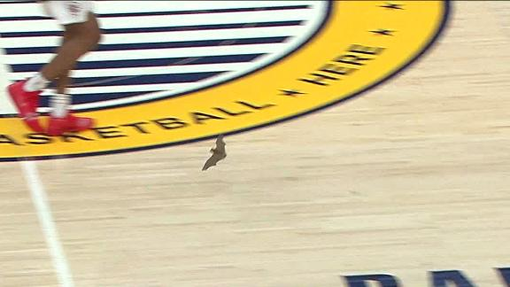 Pacers' game delayed due to a bat