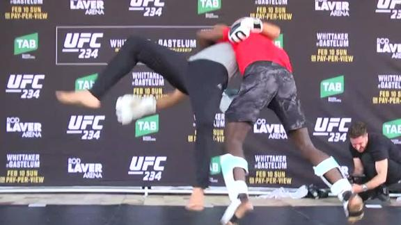 Adesanya busts out WWE moves at UFC 234 workout