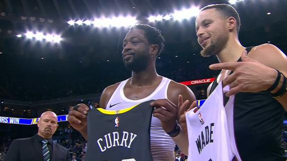 Wade swaps jerseys with Steph after game