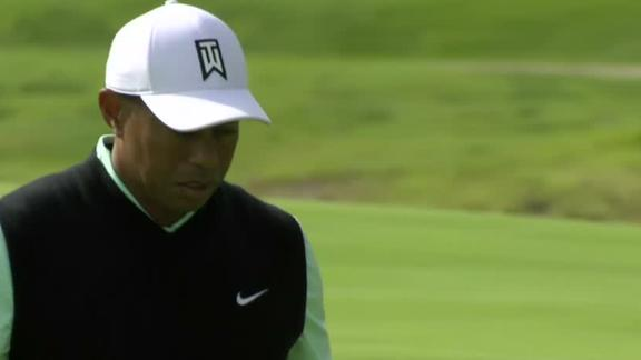 Tiger gets birdie after poor approach