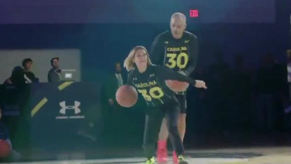 Curry's mom lands half-court shot