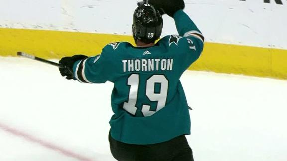 Thornton nets hat trick in loss to Bruins
