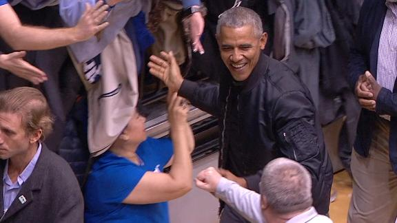 President Obama greets fans at UNC-Duke game