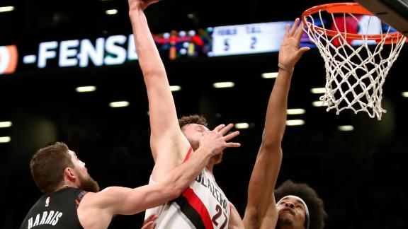 Nurkic posterizes four Nets on slam